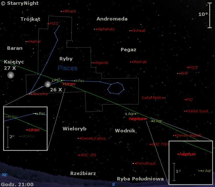Mapka pokazuje położenie Księżyca, Urana i Neptuna w ostatnim tygodniu października 2015 roku.jpg