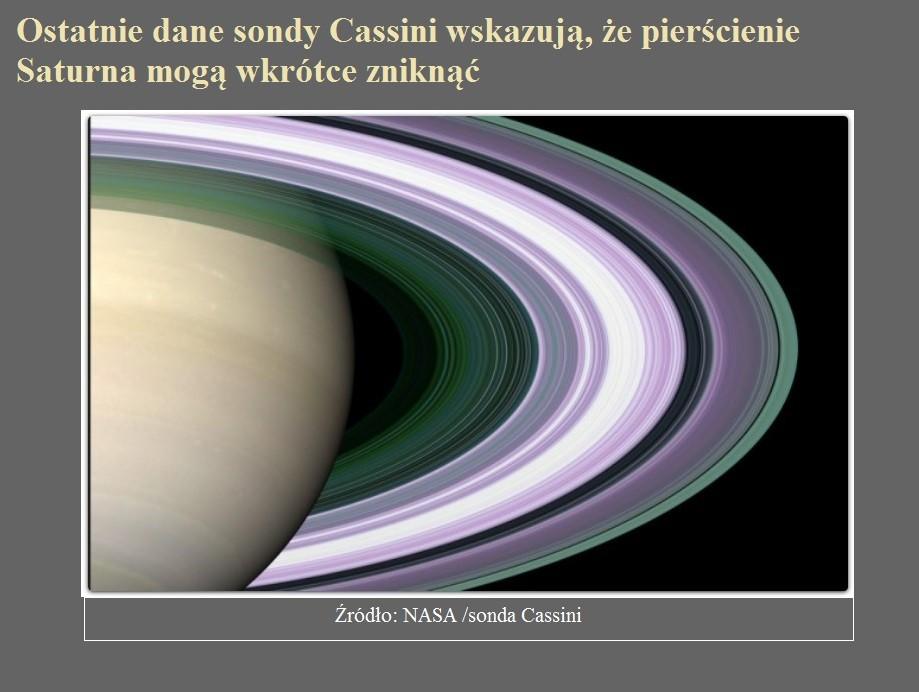 Ostatnie dane sondy Cassini wskazują, że pierścienie Saturna mogą wkrótce zniknąć.jpg