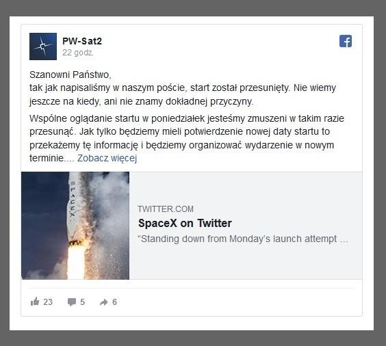 Polski satelita dotrze w kosmos z opóźnieniem. Start rakiety przełożony2.jpg