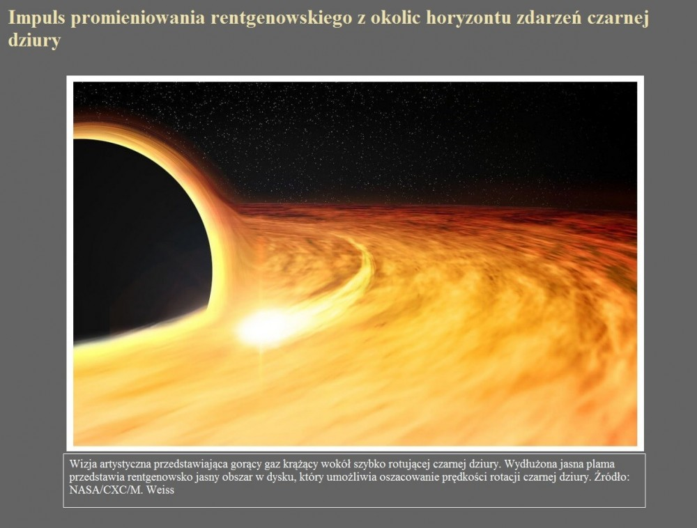 Impuls promieniowania rentgenowskiego z okolic horyzontu zdarzeń czarnej dziury.jpg
