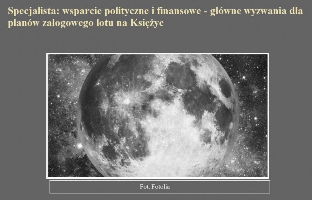 Specjalista wsparcie polityczne i finansowe - główne wyzwania dla planów załogowego lotu na Księżyc.jpg