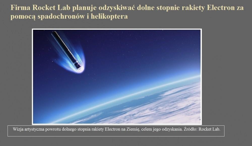 Firma Rocket Lab planuje odzyskiwać dolne stopnie rakiety Electron za pomocą spadochronów i helikoptera.jpg