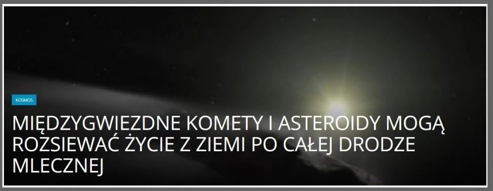 Międzygwiezdne komety i asteroidy mogą rozsiewać życie z Ziemi po całej Drodze Mlecznej.jpg