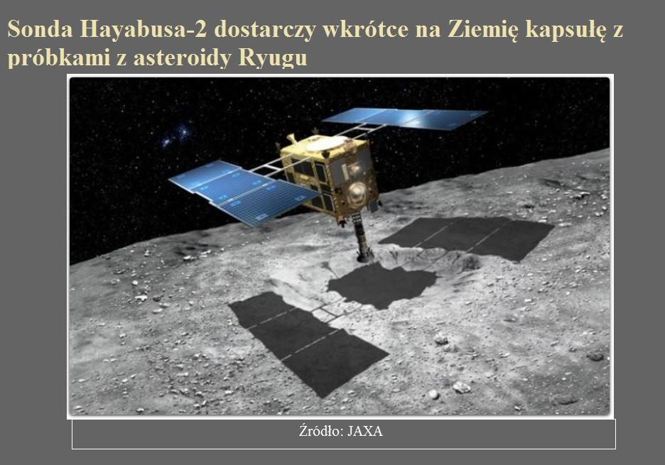 Sonda Hayabusa-2 dostarczy wkrótce na Ziemię kapsułę z próbkami z asteroidy Ryugu.jpg